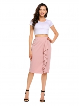 Pink High Waist Solid Ruffles Split Skirt