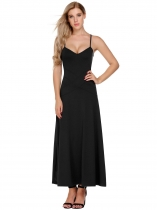 Noir Femmes V-Neck Spaghetti Strap Backless Casual Evening Party Long Maxi Dress