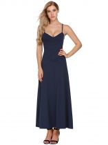 Bleu foncé Femmes V-Neck Spaghetti Strap Backless Casual Evening Party Long Maxi Dress