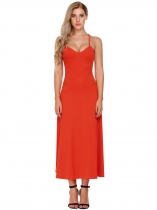 Orange Mujeres V-cuello Spaghetti Correa Backless Casual Evening Party Maxi Dress