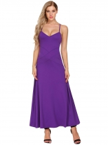 Purple Mujeres V-cuello Spaghetti Correa Backless Casual Evening Party Maxi Dress