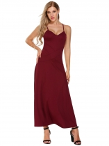 Rojo de vino Mujeres V-cuello Spaghetti Correa Backless Casual Evening Party Maxi Dress