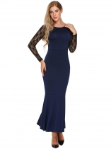 Dark blue Lace Patchwork Slim Fit Evening Mermaid Dress