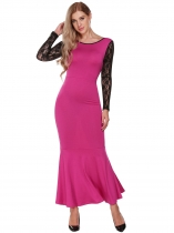Rose Pink Lace Patchwork Slim Fit Evening Mermaid Dress