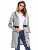 Grey Hoodie Long Sleeve Patchwork Open Front Knit Cardigan