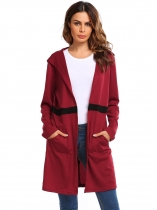 Wine red Hoodie Long Sleeve Patchwork Open Front Knit Cardigan