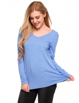 Blue V-Neck Long Sleeve Hooded Loose Knitted Top