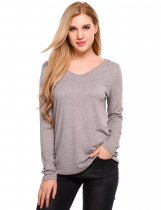 Grey V-Neck Long Sleeve Hooded Loose Knitted Top