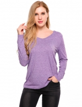 Purple V-Neck Long Sleeve Hooded Loose Knitted Top