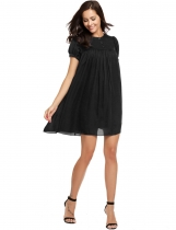 Black Buttons Front Solid Smock Chiffon Dress