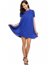 Blue Buttons Front Solid Smock Chiffon Dress