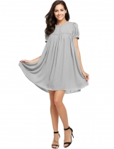 Grey Buttons Front Solid Smock Chiffon Dress