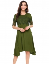 Dark green Short Sleeve Lace Patchwork Shift Dress