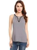 Grey Lace Up Front Cross V-Neck Sleeveless Camisole