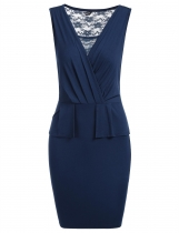 Dark blue Ruffles Back Lace Patchwork Ruched Pencil Dress