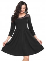 Black Round Neck Organza Patchwork A-Line Dress