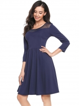 Navy blue Round Neck Organza Patchwork A-Line Dress