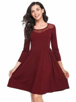 Wine red Round Neck Organza Patchwork A-Line Dress
