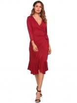 Wine red 3/4 Sleeve Solid Ruffled Bodycon Dress