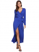 Royal Blue Mujeres Sexy manga larga sólido cuello en V Split Belted Cocktail Party Maxi Dress