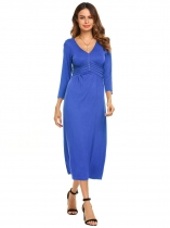 Blue 3/4 Sleeve V Neck Braid Decor Maxi Dress