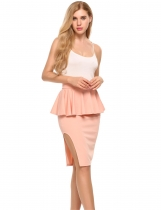 Pink High Waist Peplum Package Hip Side Split Knee Skirt