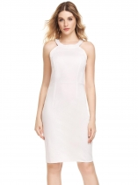 White Round Neck Sleeveless Solid Club Sheath Dress