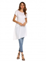 White O-Neck Short Sleeve Solid Zipper Decor Long Tops