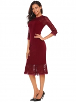 Wine red 3/4 Sleeve Lace Patchwork Bodycon Dress