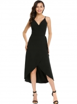 Black Spaghetti Straps Sleeveless Solid Belted Dress