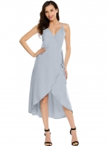 Silver Spaghetti Straps Sleeveless Solid Belted Dress