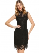 Black Women Stand Collar Sleeveless Lace Bodycon Party Dress