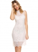 White Women Stand Collar Sleeveless Lace Bodycon Party Dress