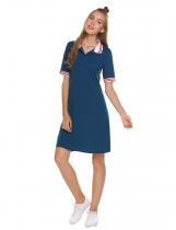 Navy blue Turn Down Collar Casual Tee Dress