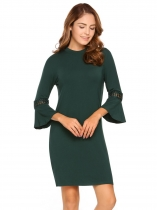 Dark green Solid 3/4 Flare Sleeve Sheath Short Dress