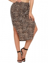 Brown High Waist Leopard Split Bandage Pencil Midi Skirt