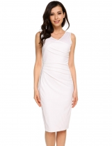 White Solid Ruched Cross V Neck Sleeveless Slim Pencil Dress