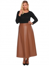 Brown Plus Size Synthetic Leather High Waist A-Line Maxi Skirt