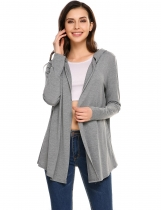 Gray Casual Hooded Knit Asymmetrical Pleated Hem Hoodies Cardigan