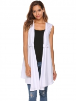 White Solid Sleeveless Asymmetric Hem Open Front Draped Cardigan