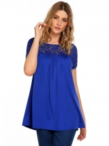 Blue Lace Patchwork O-Neck Short Sleeve Tops