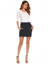 Navy blue High Waist Striped Mini Pencil Skirt with Pockets