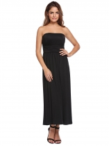 Black Strapless Sleeveless Solid Maxi Dress