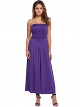 Purple Strapless Sleeveless Solid Maxi Dress