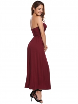 Wine red Strapless Sleeveless Solid Maxi Dress