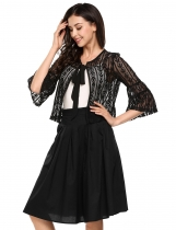 Black Flare 3/4 Sleeve Bow Floral Open Stitch Jacket