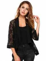 Black Flare Sleeve Floral Lace Open Stitch Loose Jacket