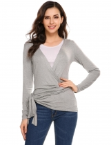 Gray Solid Long Sleeve Front Two Bandage Elastic Cardigan