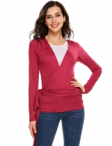 Wine red Solid Long Sleeve Front Two Bandage Elastic Cardigan