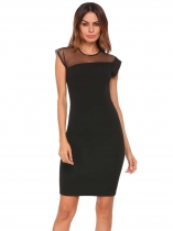 Black Sleeveless Mesh Patchwork Slim Fit Pencil Dress